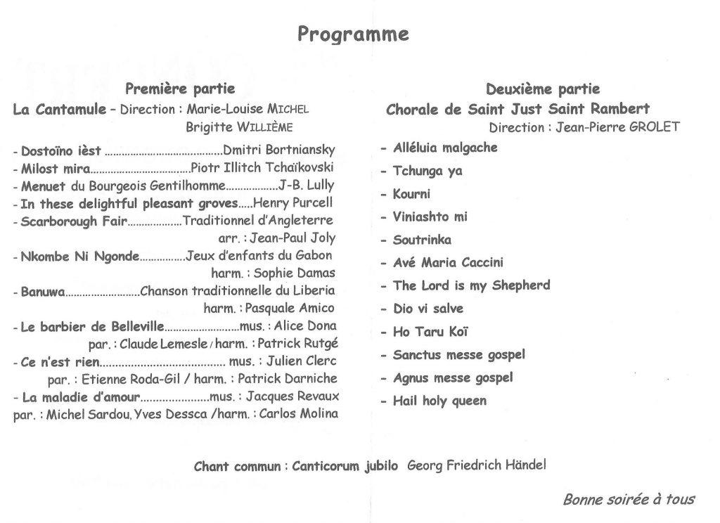 Programme du concert des chorales La Cantamule et de St Just St Rambert le 5 novembre 2016 en l'Eglise du Roule à la Mulatière
