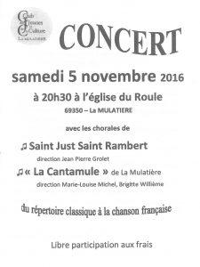 Affiche du concert des chorales La Cantamule et de St Just St Rambert le 5 novembre 2016 en l'Eglise du Roule à la Mulatière